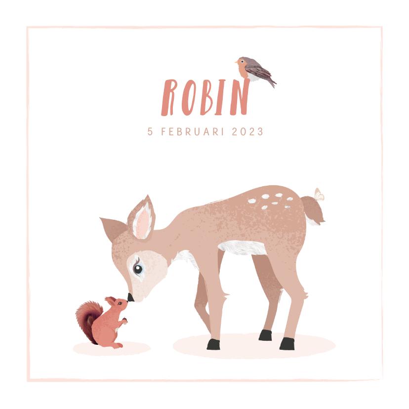Geboortekaartjes - Geboortekaartje met illustratie hertje eekhoorntje vogeltje