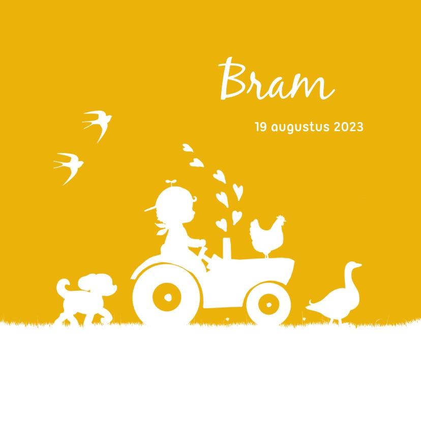 Geboortekaartjes - Geboortekaartje met jongetje op trekker en boerderijdieren