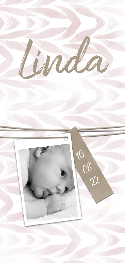Geboortekaartjes -  Geboortekaartje met label en waterverf zachtroze