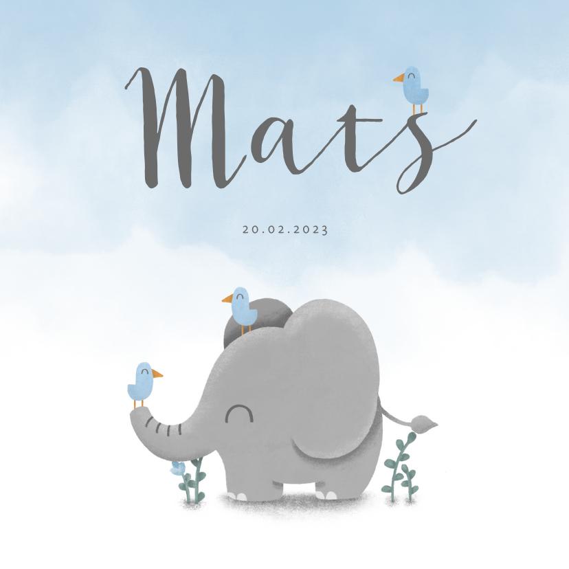 Geboortekaartjes - Geboortekaartje met lieve olifant, vogeltjes en waterverf