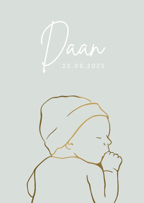 Geboortekaartjes - Geboortekaartje met lijntekening van baby