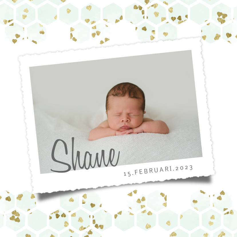 Geboortekaartjes - Geboortekaartje met mintgroen goud hartjes in hexagon