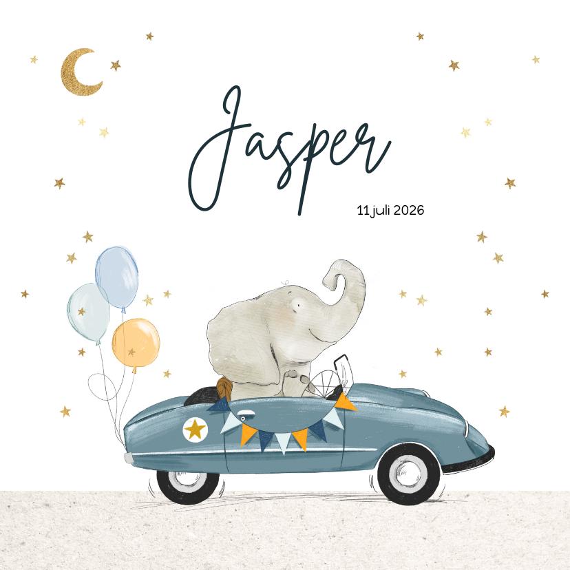 Geboortekaartjes - Geboortekaartje met olifant in feestelijke retro trapauto