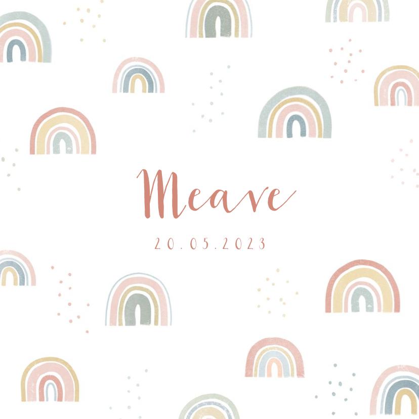 Geboortekaartjes - Geboortekaartje met regenboogjes en stipjes
