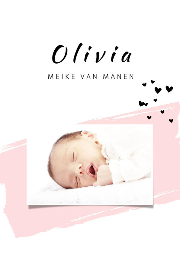 Geboortekaartjes - Geboortekaartje met roze verfveeg en zwarte hartjes