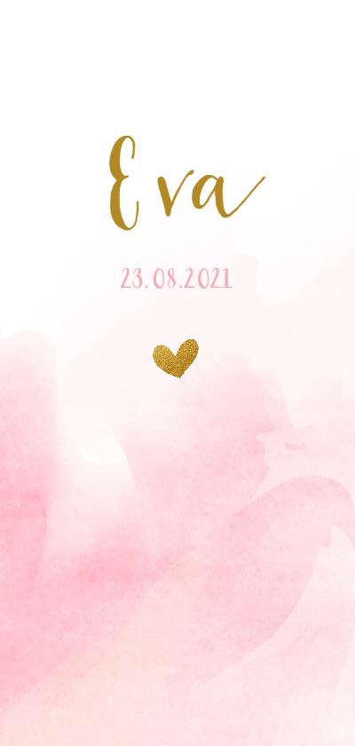 Geboortekaartjes - Geboortekaartje met roze waterverf en goud hartje