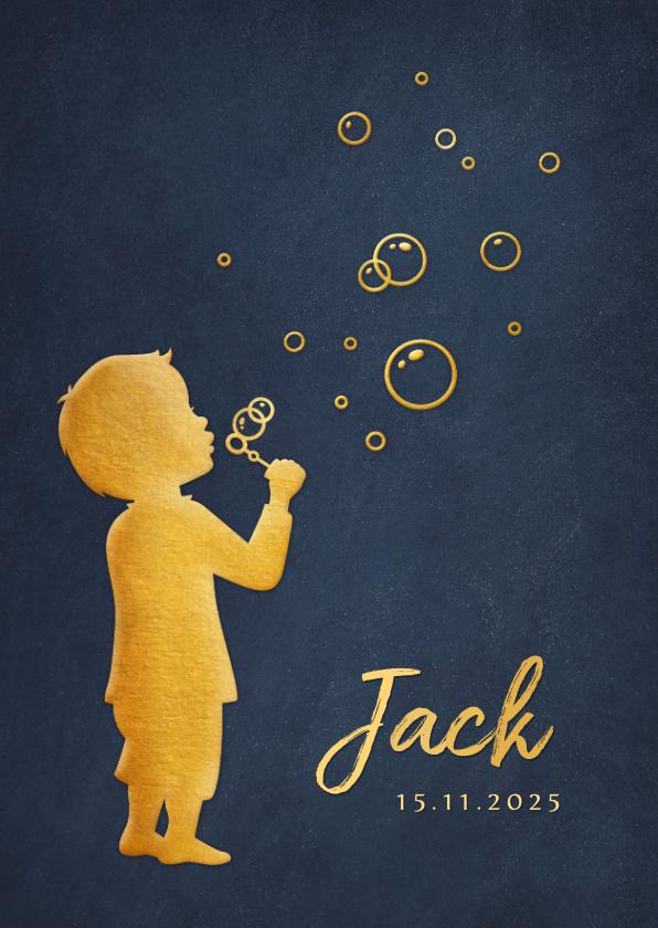 Geboortekaartjes - Geboortekaartje met silhouet van een jongen die bellenblaast