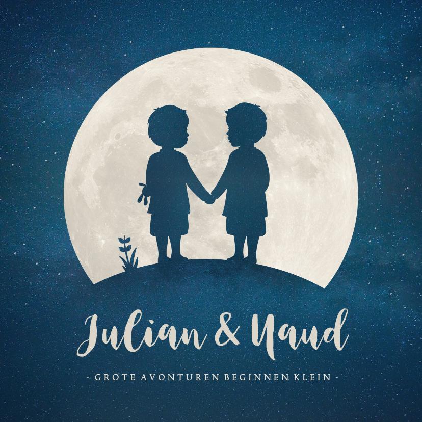 Geboortekaartjes - Geboortekaartje met silhouet van jongens tweeling in maan