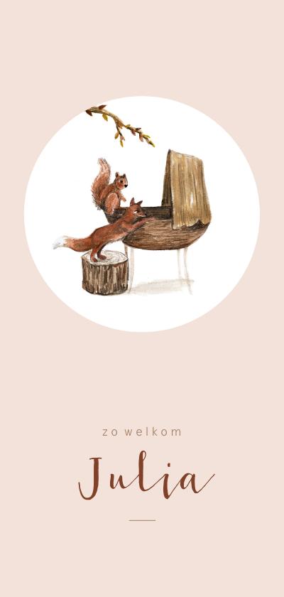Geboortekaartjes - Geboortekaartje met tekening van een wiegje met bosdieren