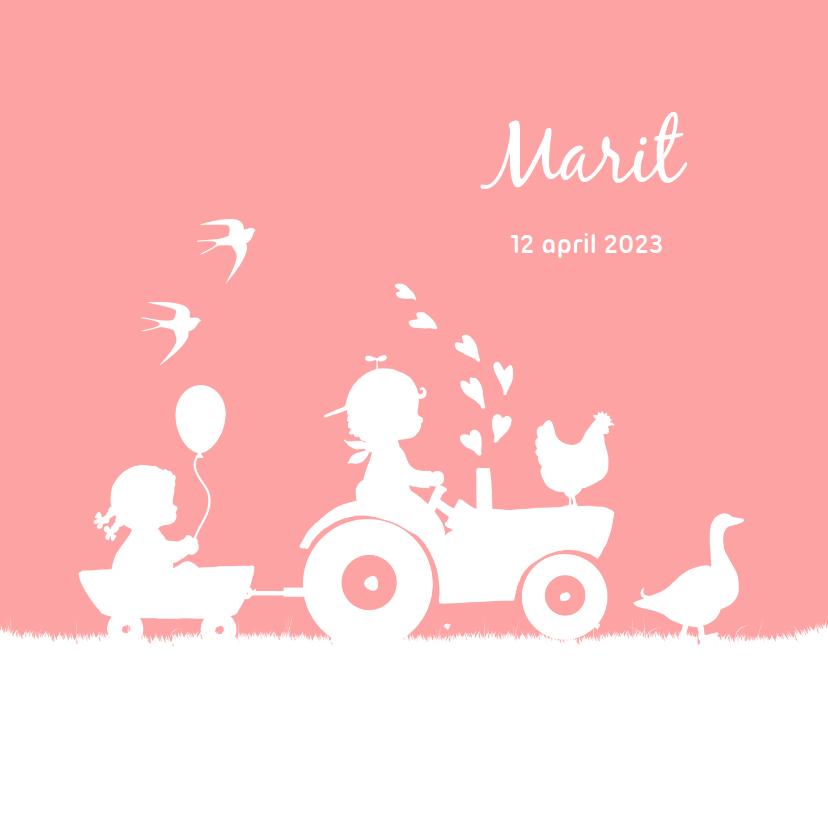 Geboortekaartjes - Geboortekaartje met tractor voor een zusje