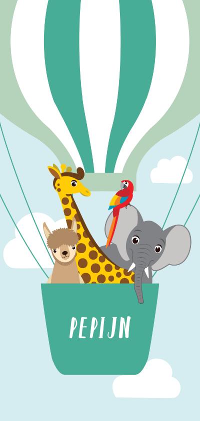 Geboortekaartjes - Geboortekaartje met vrolijke diertjes in een luchtballon