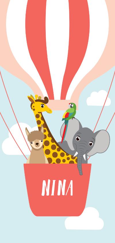Geboortekaartjes - Geboortekaartje met vrolijke diertjes in roze luchtballon