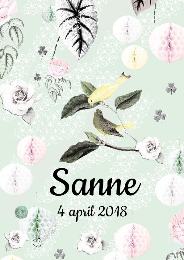 Geboortekaartjes - Geboortekaartje met vrolijke vogeltjes, bloemen en pompoms