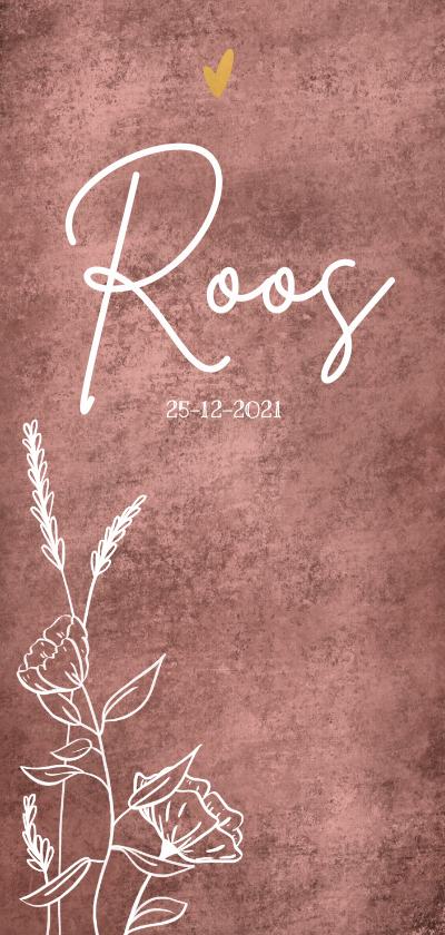 Geboortekaartjes - Geboortekaartje met wilde bloemen en gouden hartje
