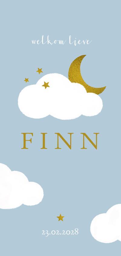 Geboortekaartjes - Geboortekaartje met wolkjes, sterren en gouden maan