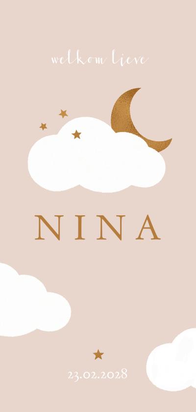 Geboortekaartjes - Geboortekaartje met wolkjes, sterren en koperen maan