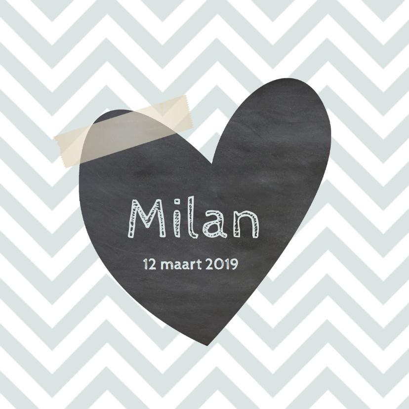 Geboortekaartjes - Geboortekaartje Milan chevron groen- LO