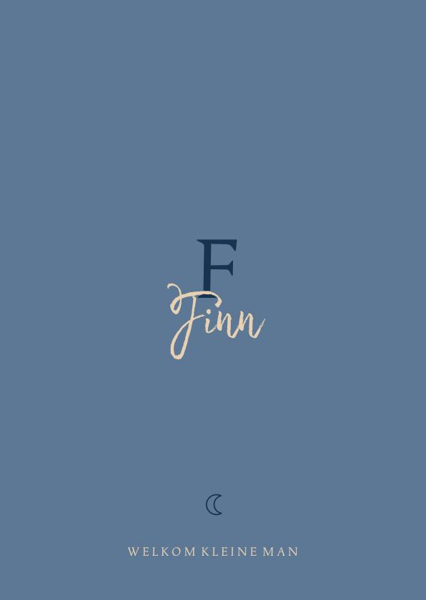 Geboortekaartjes - Geboortekaartje minimalistisch maantje blauw jongen letter