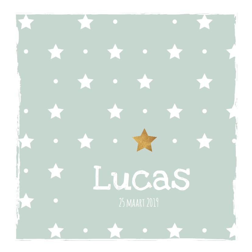 Geboortekaartjes - Geboortekaartje mint groen met sterren - LO