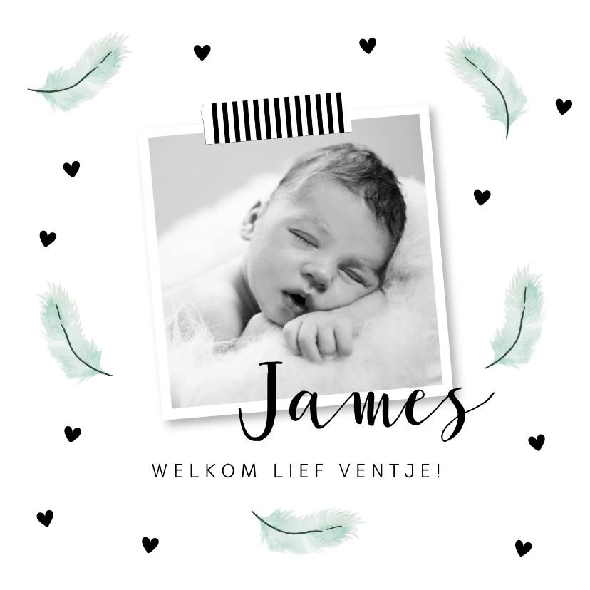 Geboortekaartjes - Geboortekaartje mintgroene veertjes en foto