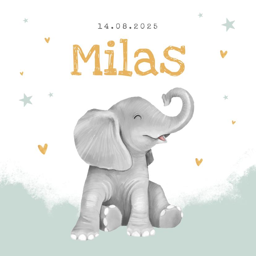 Geboortekaartjes - Geboortekaartje olifant jongen hartjes goud waterverf