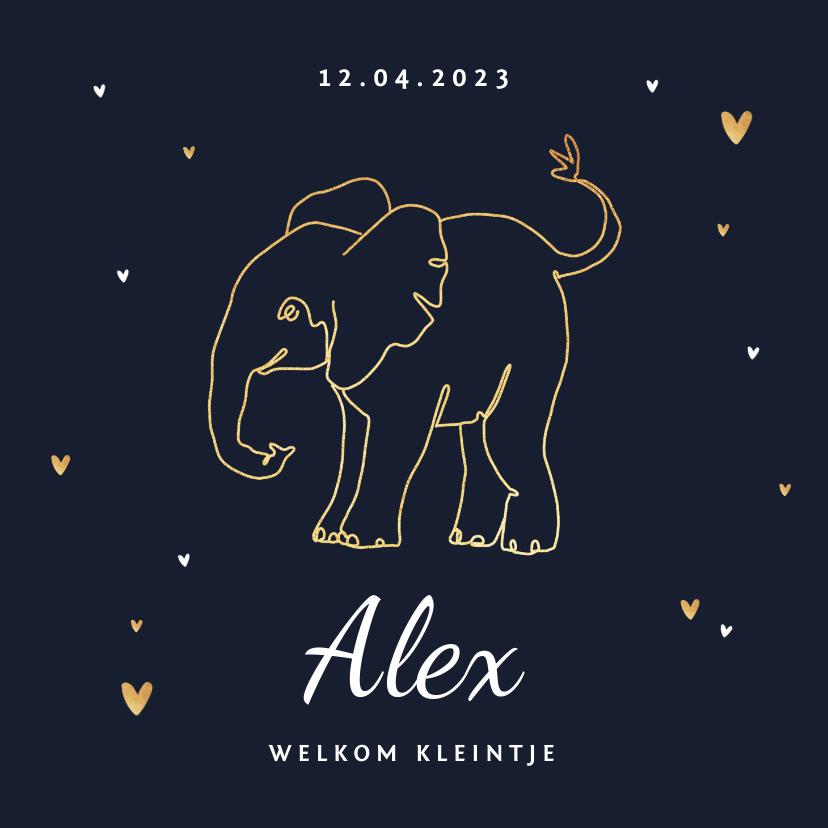 Geboortekaartjes - Geboortekaartje olifant jongen stijlvol goud lijntekening