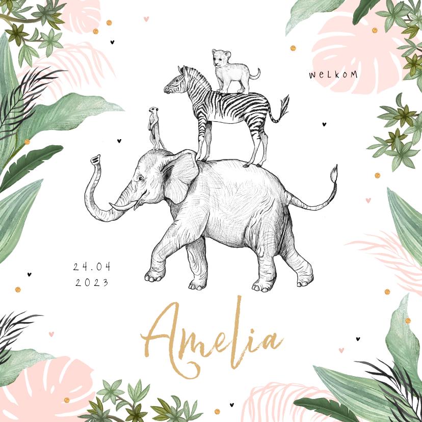 Geboortekaartjes - Geboortekaartje olifant leeuw jungle dieren confetti meisje