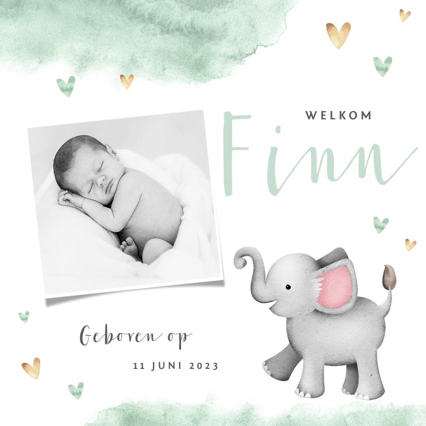 Geboortekaartjes - Geboortekaartje olifant mint waterverf hartjes foto