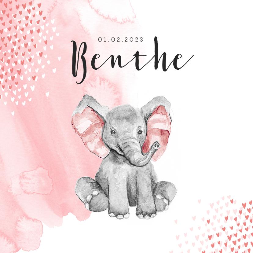 Geboortekaartjes - Geboortekaartje olifant waterverf hartjes roze meisje