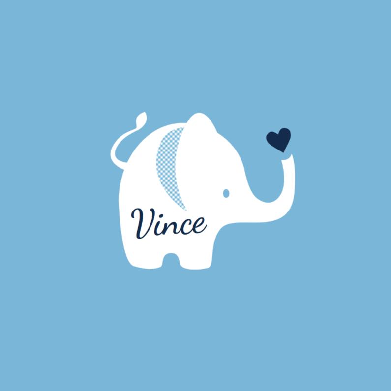 Geboortekaartjes - Geboortekaartje olifantje blauw - lovz