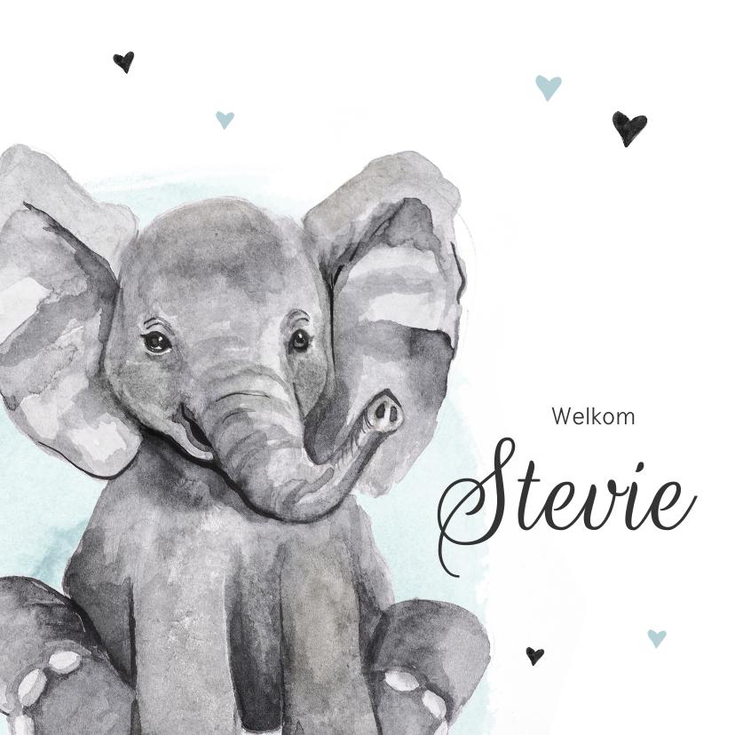 Geboortekaartjes - Geboortekaartje olifantje hip waterverf hartjes