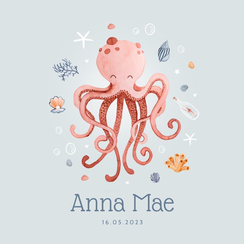 Geboortekaartjes - Geboortekaartje onderwater octopus schelpjes sterren