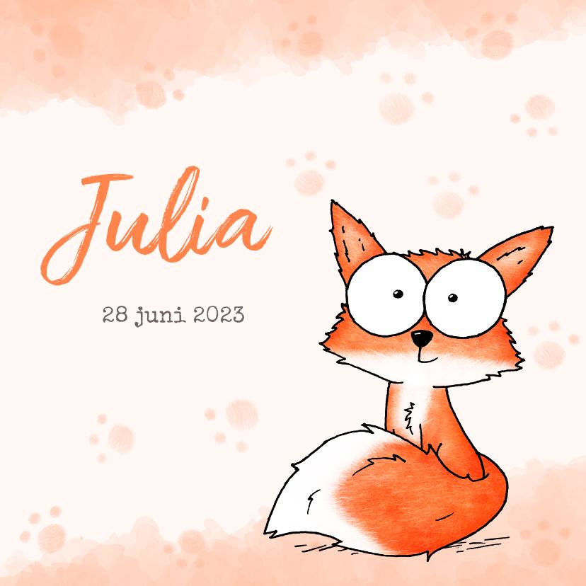 Geboortekaartjes - Geboortekaartje oranje - Lief klein vosje