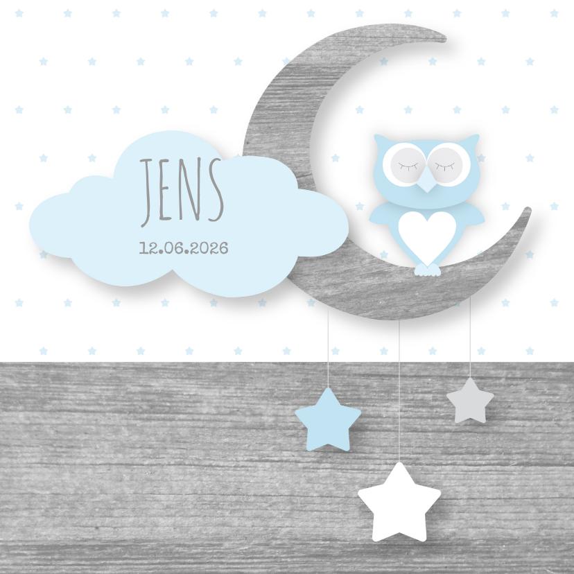 Geboortekaartjes - Geboortekaartje uiltje maan sterren lichtblauw