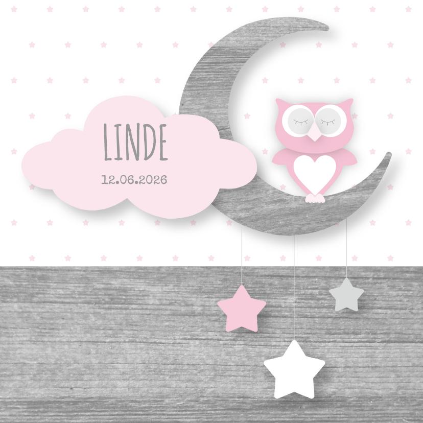 Geboortekaartjes - Geboortekaartje uiltje maan en sterren roze