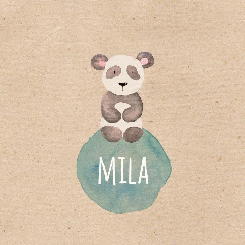 Geboortekaartjes - Geboortekaartje panda in waterverf