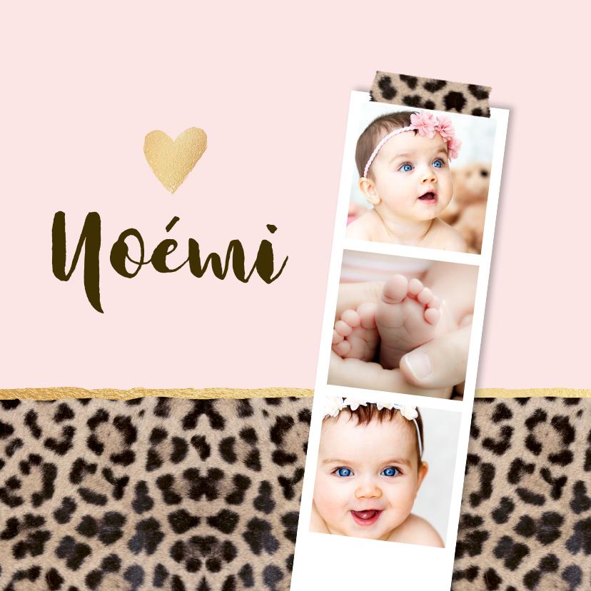 Geboortekaartjes - Geboortekaartje panterprint fotostrip hartje