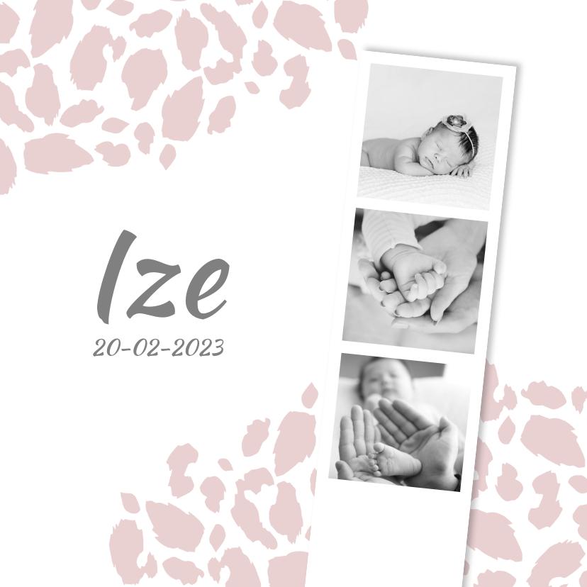 Geboortekaartjes - Geboortekaartje panterprint fotostrip roze