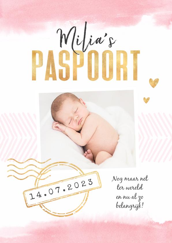 Geboortekaartjes - Geboortekaartje paspoort waterverf meisje stempels goud