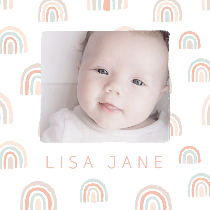 Geboortekaartjes - Geboortekaartje pastel regenbogen met foto