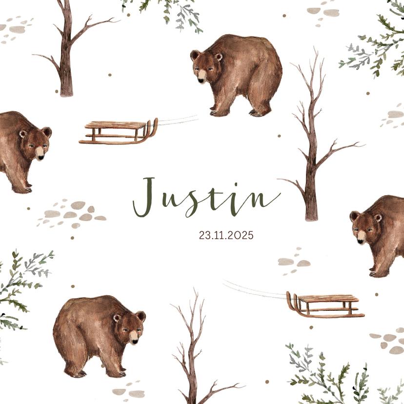 Geboortekaartjes - Geboortekaartje patroon beer slee waterverf takjes winter