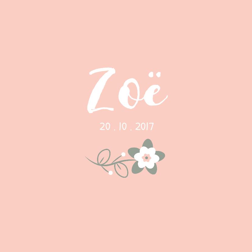 Geboortekaartjes - Geboortekaartje perzikroze met lief bloemetje