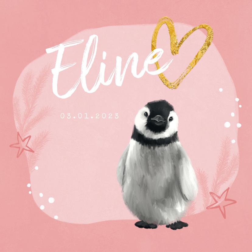 Geboortekaartjes - Geboortekaartje pinguin meisje sterren hartje goud