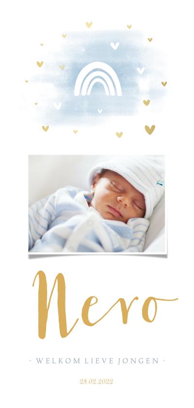 Geboortekaartjes - Geboortekaartje regenboog met foto, waterverf en hartjes