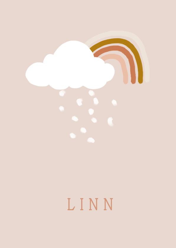 Geboortekaartjes - Geboortekaartje regenboog roze
