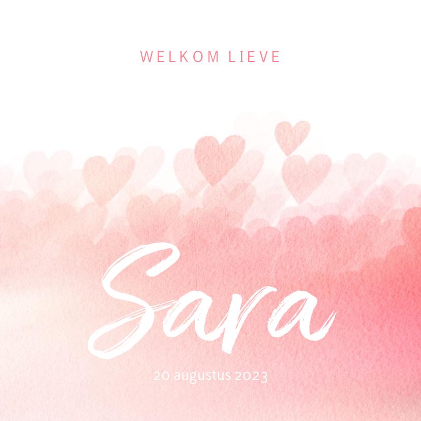 Geboortekaartjes - Geboortekaartje roze hartjes meisje