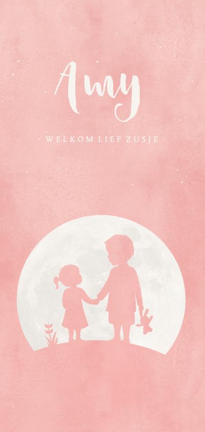 Geboortekaartjes - Geboortekaartje roze silhouet broer en zusje in volle maan
