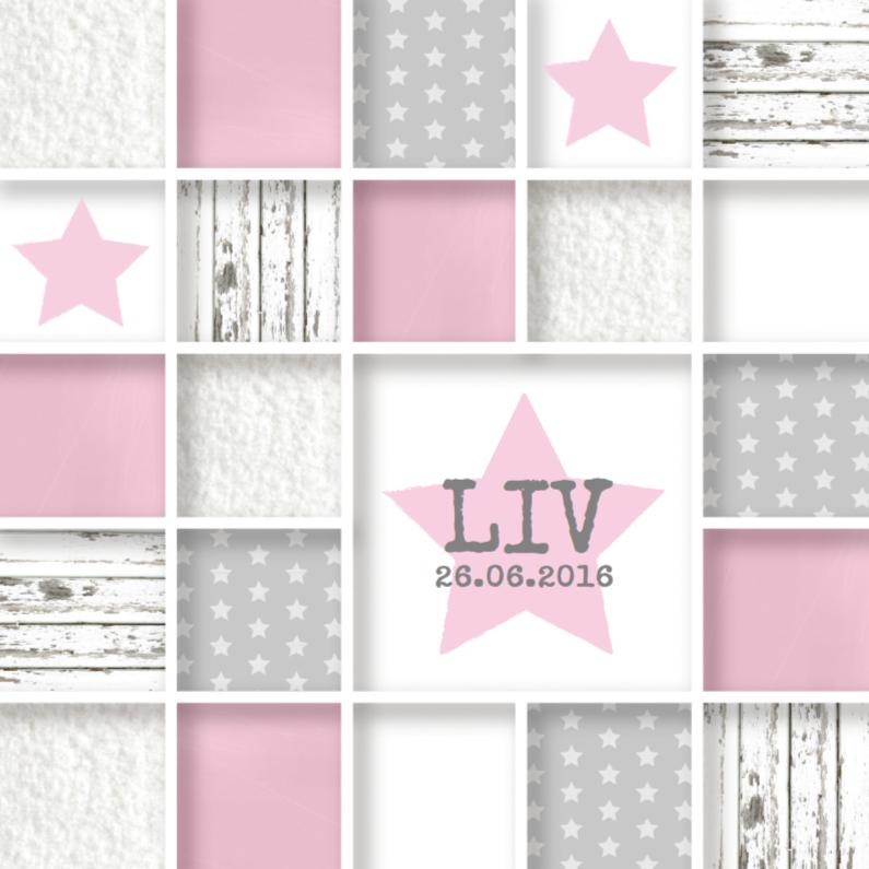 Geboortekaartjes - Geboortekaartje roze vakjes girl