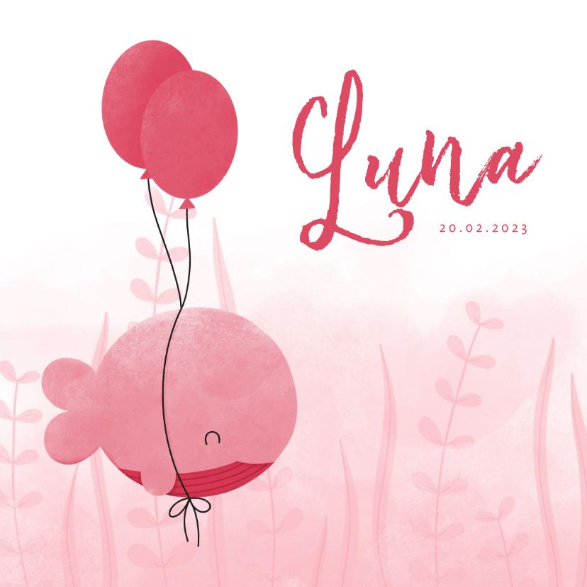 Geboortekaartjes - Geboortekaartje roze walvis met ballonnen en waterverf