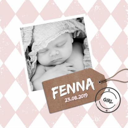 Geboortekaartjes - Geboortekaartje roze wieber